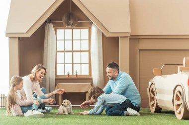 beautiful family with adorable puppy on yard of cardboard house