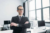 Fotografie portrait of smiling businessman with arms crossed in office