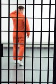 Photo rear view of prisoner in prison cell with metallic bars on foreground