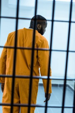 rear view of african american prisoner behind prison bars