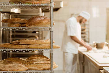 Shelves with fresh bread and blurred baker on background at baking manufacture stock vector