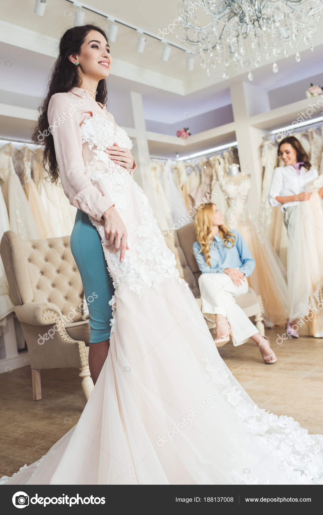 Bride Lace Dresses Bridesmaids Wedding Atelier — Stock Photo ...