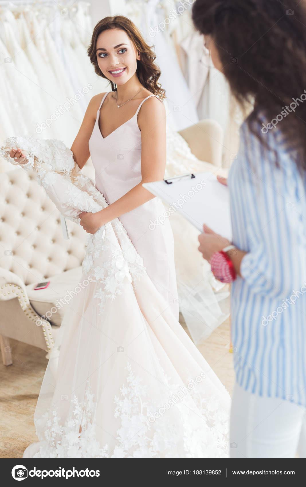 Bride Holding Dress Tailor Writing Clipboard Wedding Atelier — Stock ...