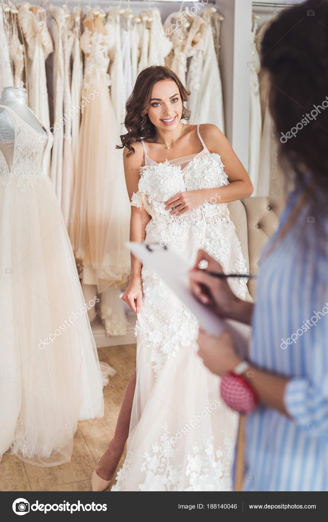 Beautiful Bride Female Tailor Trying Dress Wedding Atelier — Stock ...