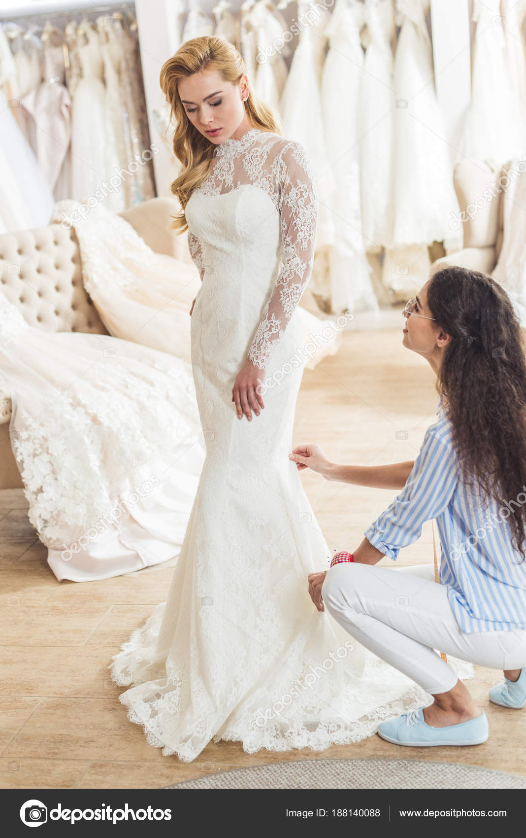 Female Tailor Working Attractive Bride Wedding Atelier — Stock Photo ...