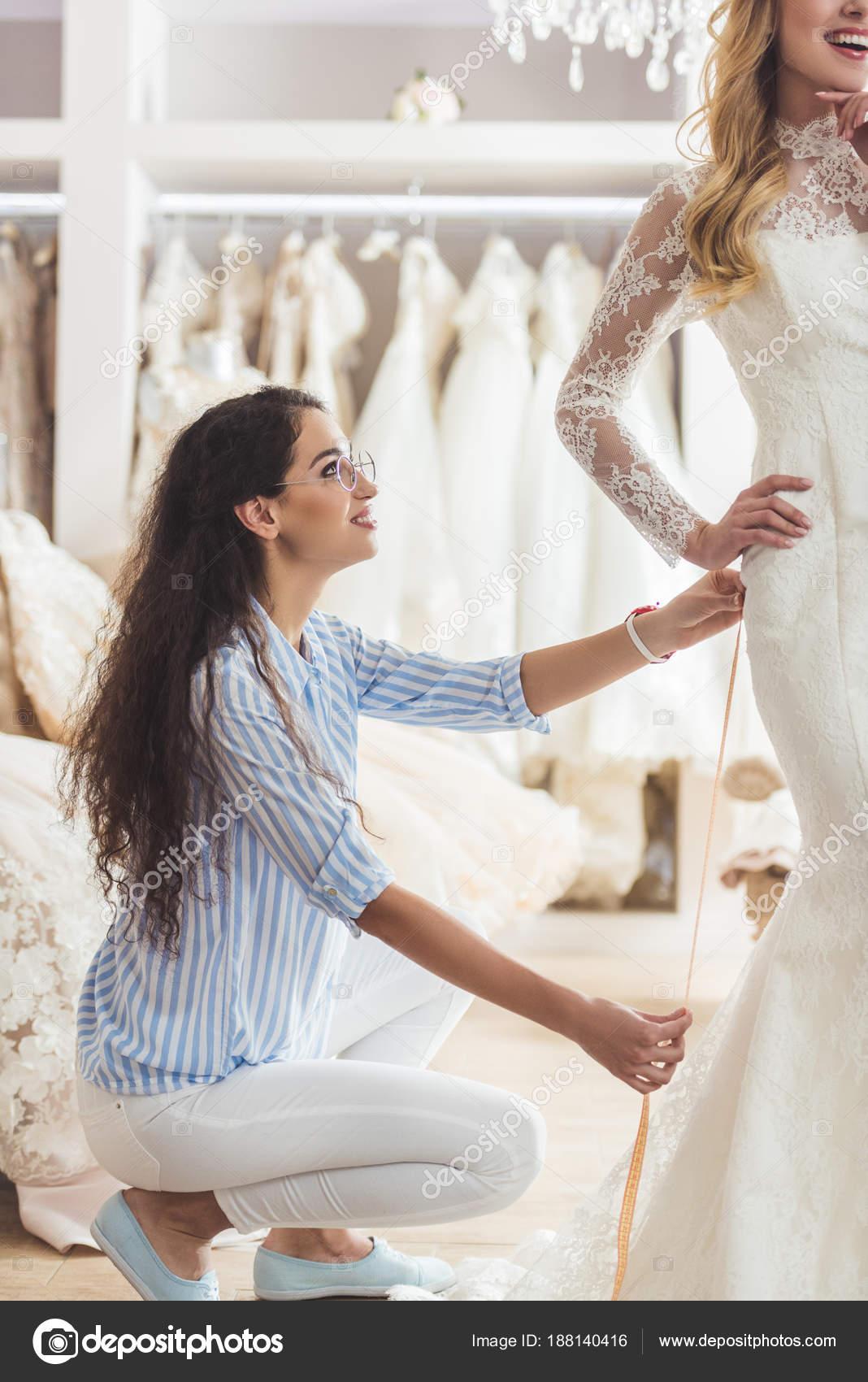 Beautiful Bride Female Tailor Trying Dress Wedding Salon — Stock ...