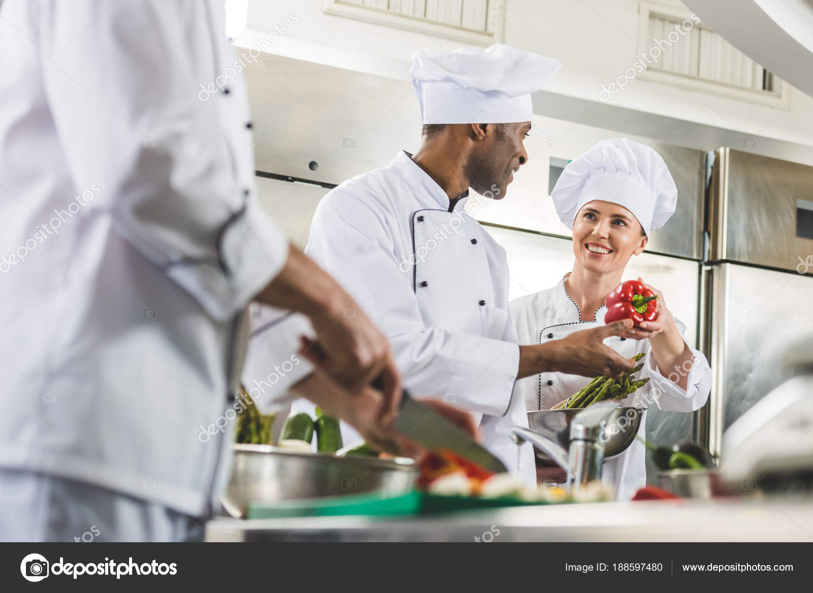 Multicultural Chefs Work Restaurant Kitchen — Stock Photo ...