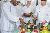Fotografie multikulturní šéfkuchaři salát v restauraci kitchen