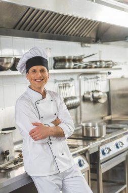 Smiling chef standing with crossed arms and looking at camera at restaurant kitchen stock vector