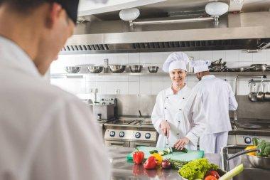 multicultural chefs working at restaurant kitchen