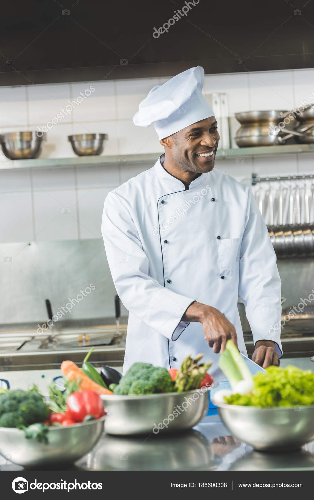 Smiling Handsome African American Chef Cutting Vegetables Restaurant ...