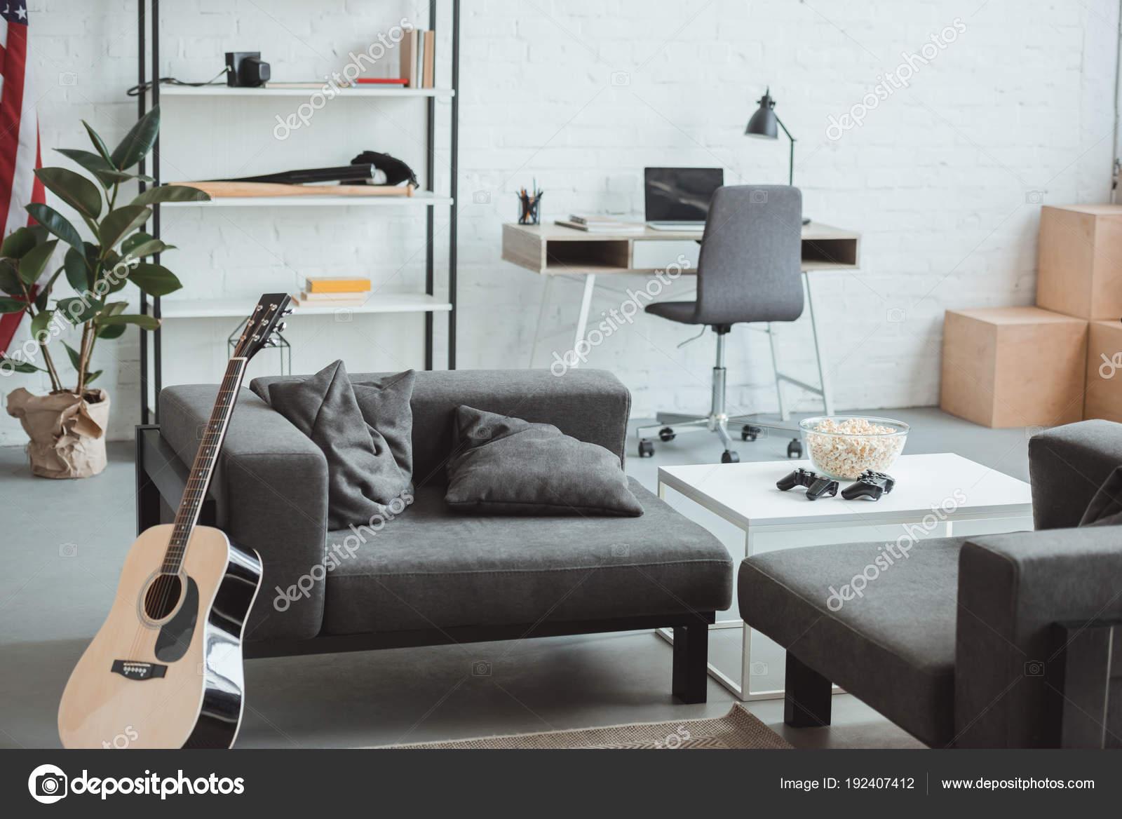Interior Modern Living Room Armchairs Guitar Shelves Tables Laptop ...