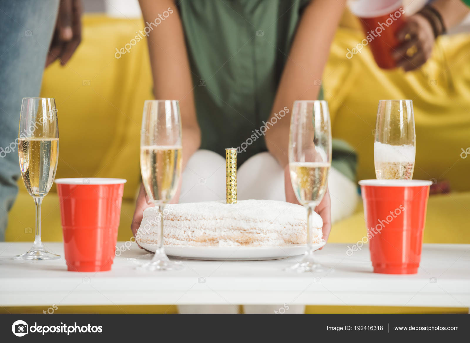 Champagne And Birthday Cake On Table In Front Of People At Party Photo By ArturVerkhovetskiy