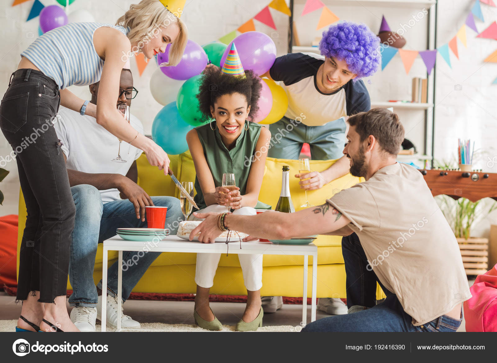 Young Men Women Cutting Birthday Cake Home Party Stock Photo