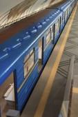 high angle view of train at subway station