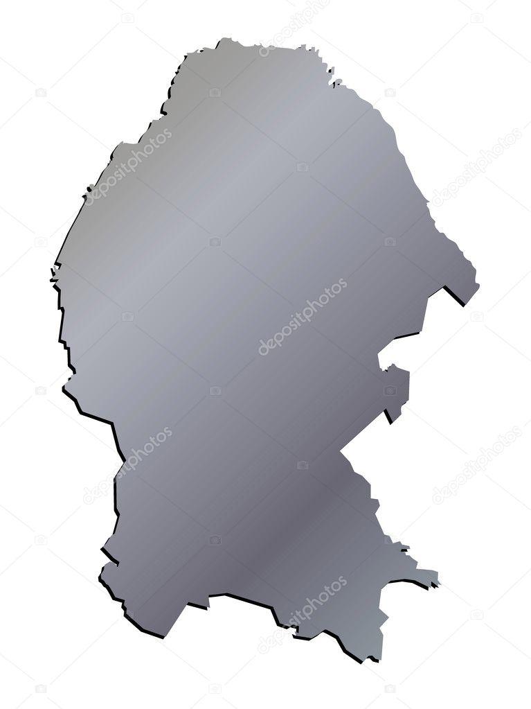 State Map Mexico.3d Coahuila Mexico State Map Vector Aluminium Stock Vector