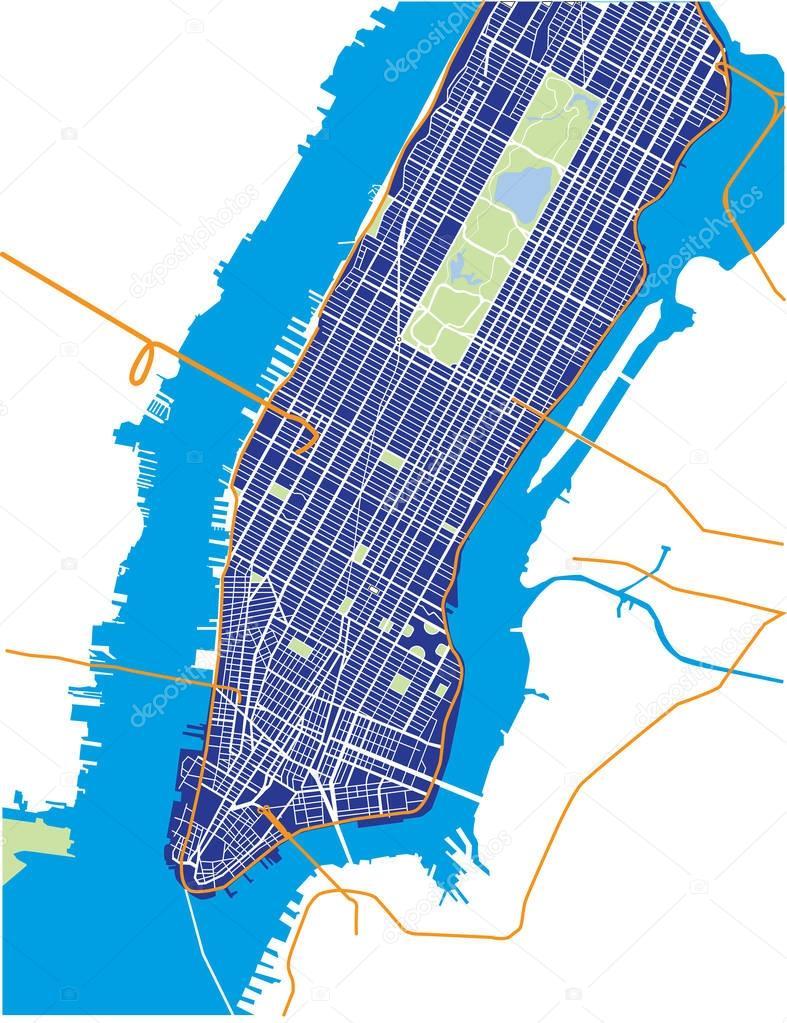 New York City Lower And Mid Manhattan Vector Map Dark Blue - New york map eps