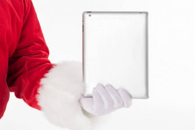 Santa Claus hand showing digital tablet