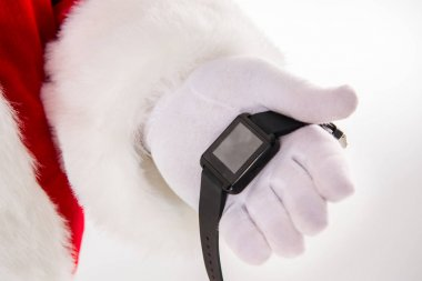 Cropped image of Santa Claus hand showing smart-watch stock vector