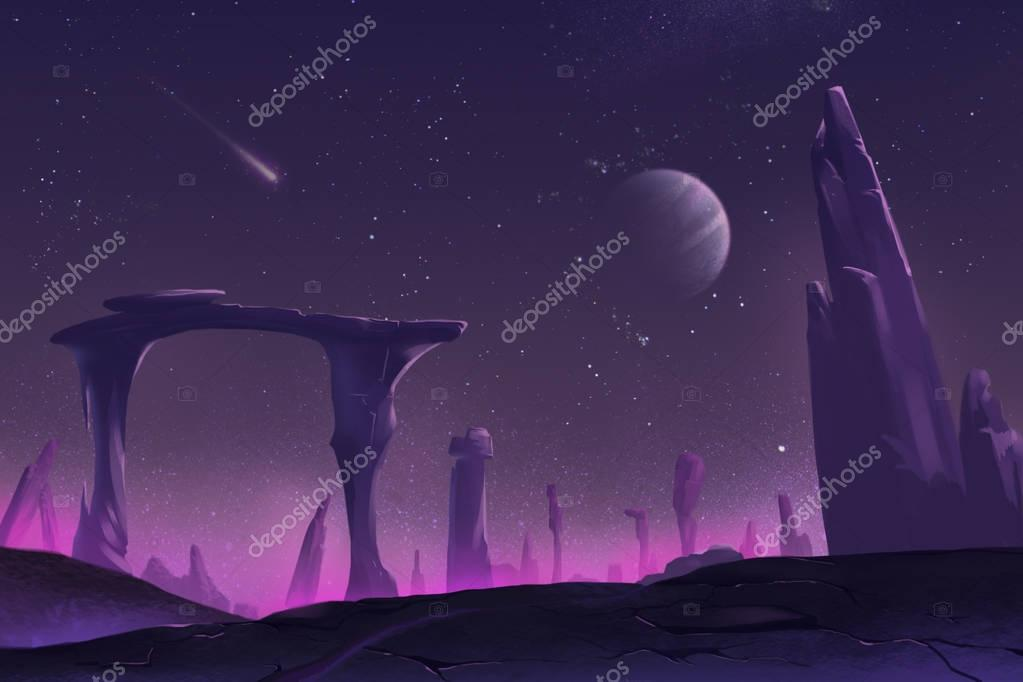 Fantastic and Exotic Allen Planet's Environment: A Peaceful Night