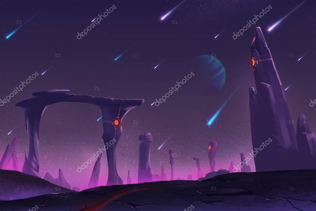 Fantastic and Exotic Allen Planet's Environment: Meteor Shower at Night