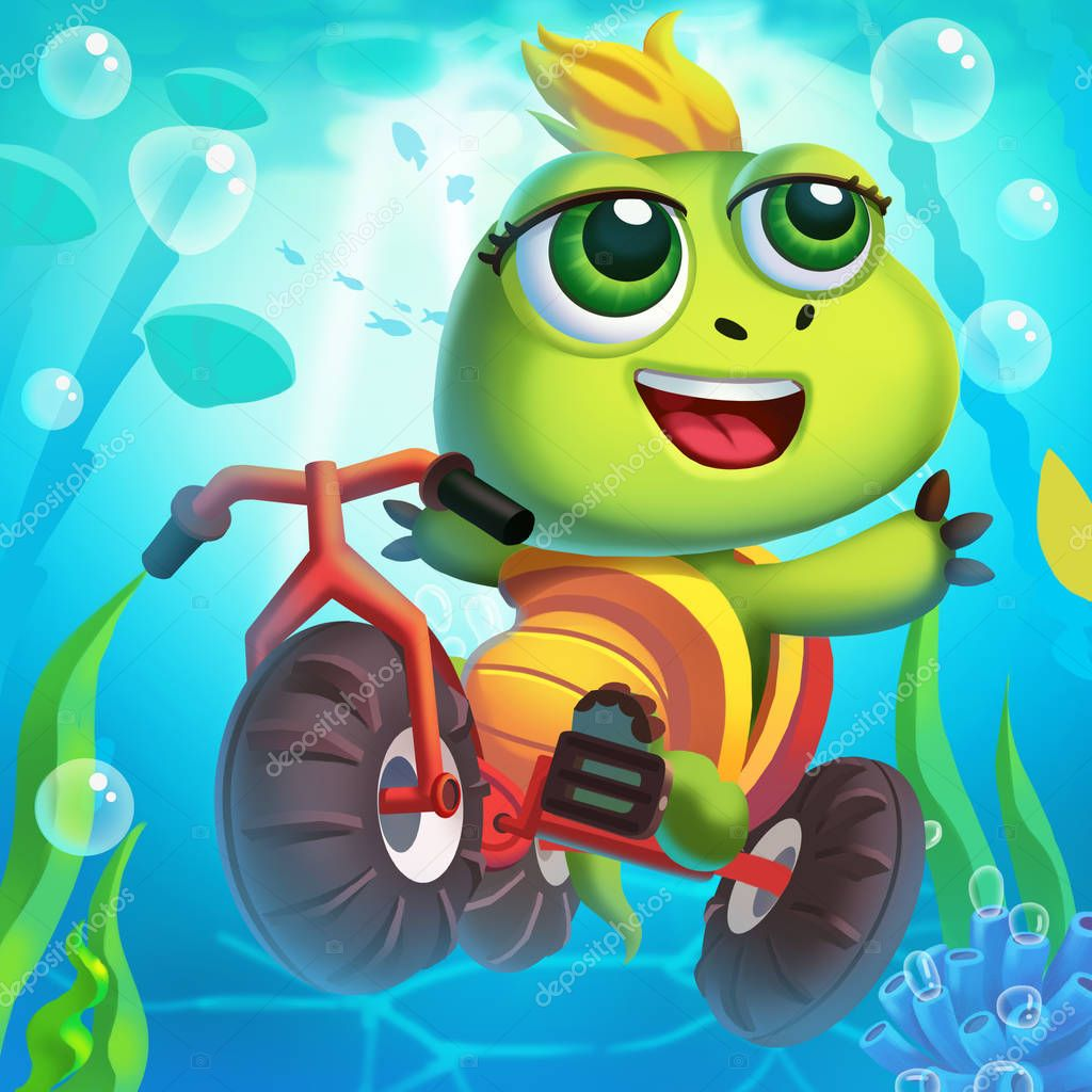 The Little Turtle Rides a Bicycle Underwater