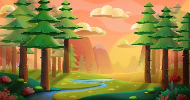 Peaceful Forest And Mountain