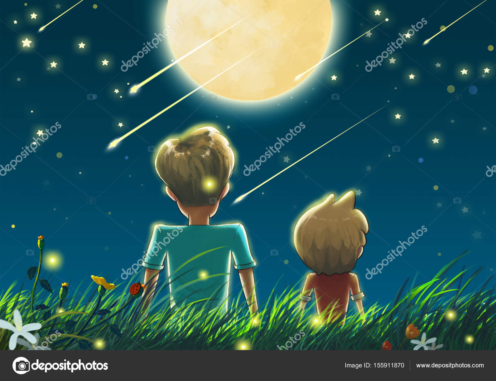 Father And Son In The Beautiful Night With Big Moon Shooting Stars Stock Photo