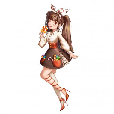 Candy Girl with Anime and Cartoon Style. Video Game's Digital CG Artwork, Concept Illustration, Realistic Cartoon Style Character Design