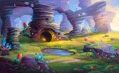Fotografia Alien Planet the Mountain and Cave with Fantastic, Realistic and Futuristic Style. Video Games Digital CG Artwork, Concept Illustration, Realistic Cartoon Style Scene Design