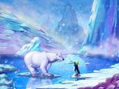 Fotografia Lorso polare e pinguino con stile fantastico, realistico e futuristico. Grafica digitale di Cg, illustrazione di concetto, stile realistico fumetto scena di video gioco