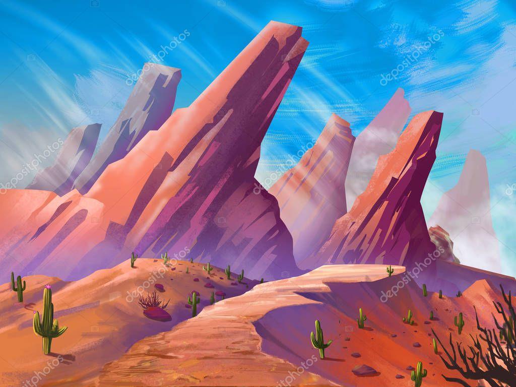 The Desert with Fantastic, Realistic and Futuristic Style. Video Game's Digital CG Artwork, Concept Illustration, Realistic Cartoon Style Scene Design