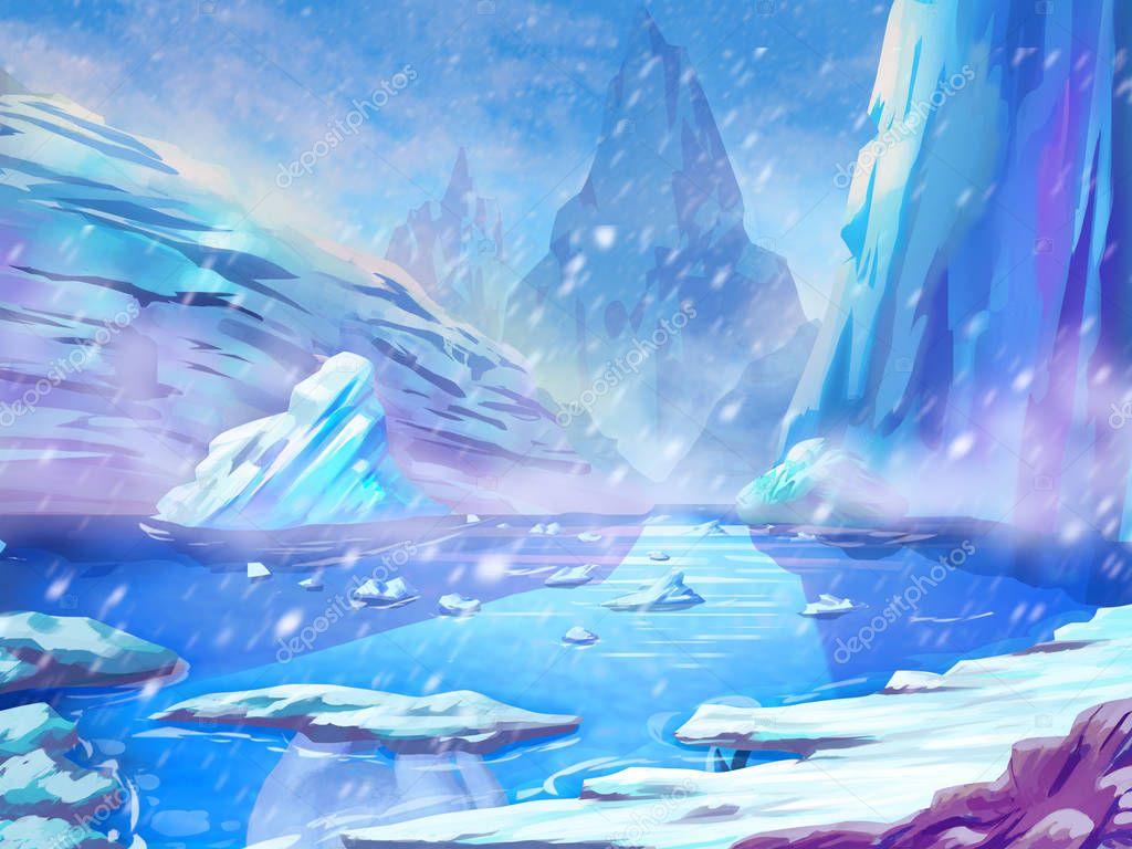 North Polar Snow land with Fantastic, Realistic and Futuristic Style. Video Game's Digital CG Artwork, Concept Illustration, Realistic Cartoon Style Scene Design