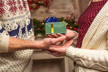 Couple holding christmas present