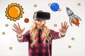 lány visel virtuális-valóság sisak