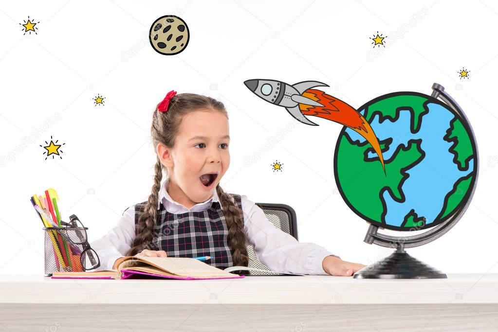 school girl dreaming about space traveling