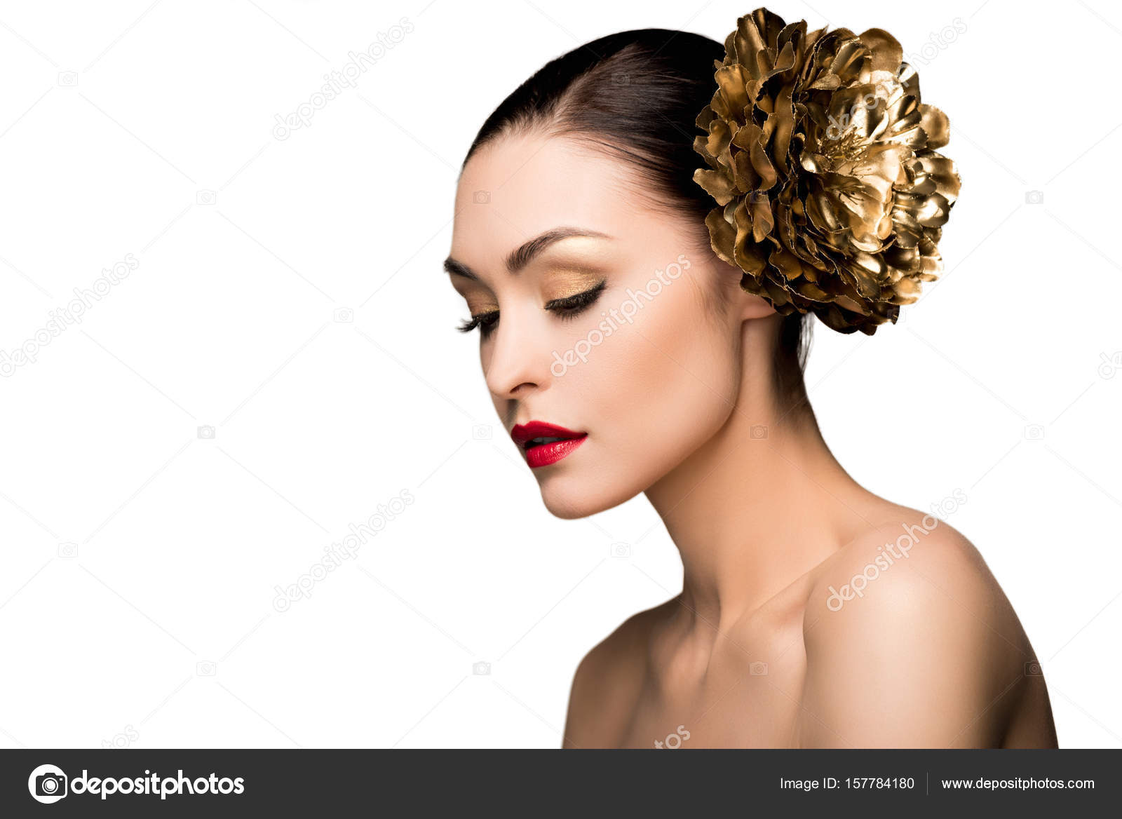 Girl With Golden Flower In Hair Stock Photo Dmitrypoch 157784180