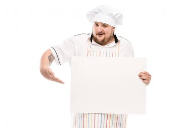 Chef holding blank banner