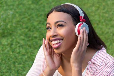 African american girl in headphones