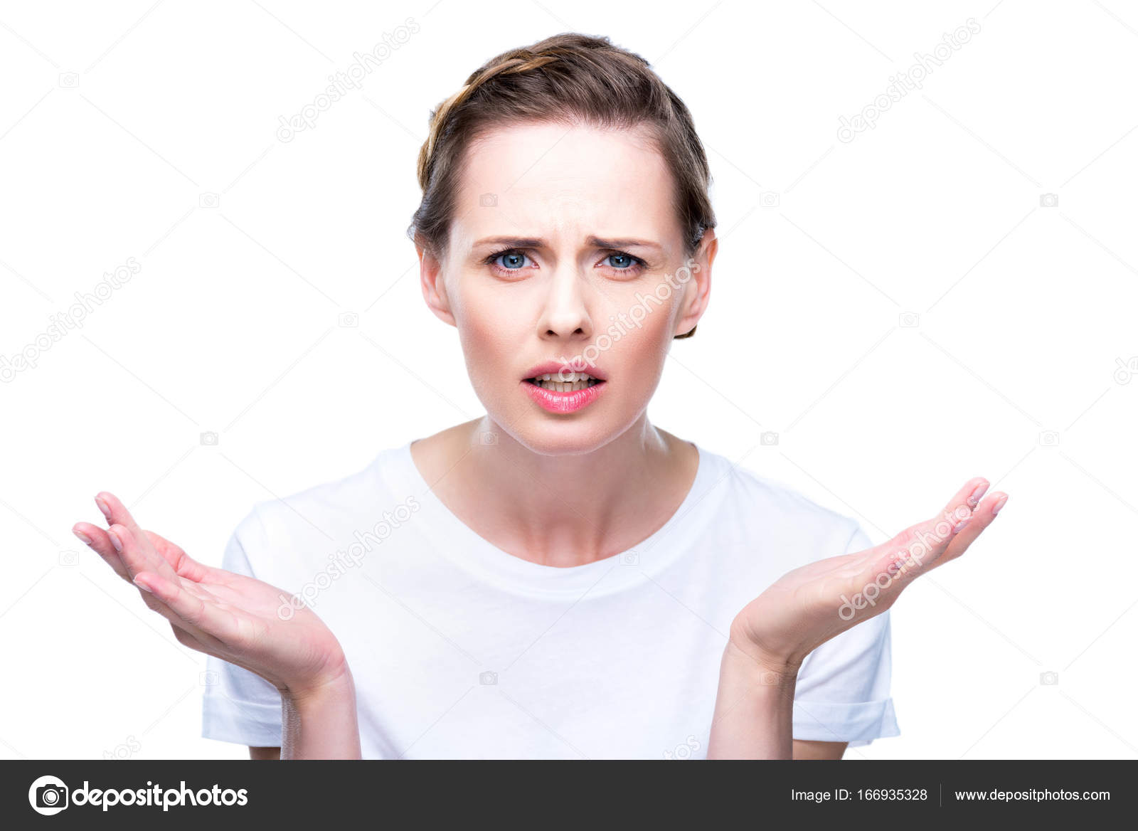 confused woman with shrug gesture stock photo dmitrypoch 166935328