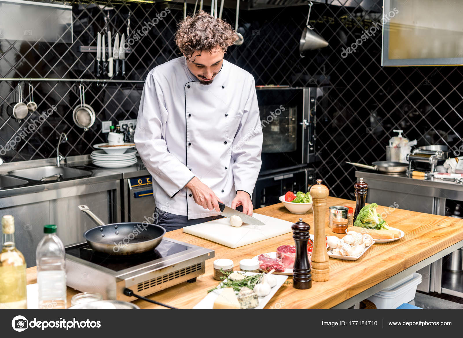 Seta Corte Chef Cocina Restaurante Foto De Stock