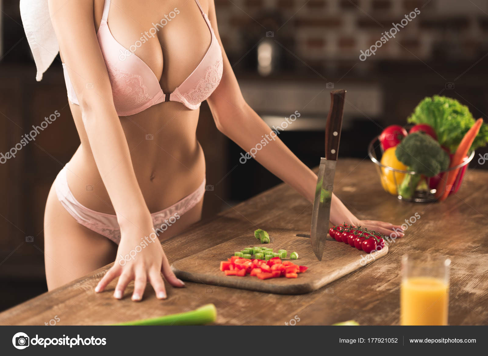 Sexy cooking in lingerie all clear