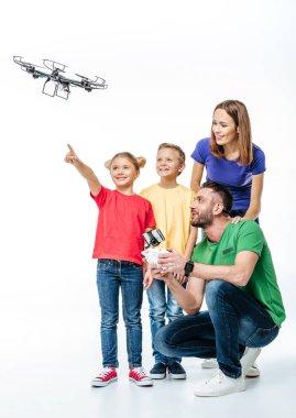 Kids using flying hexacopter drone