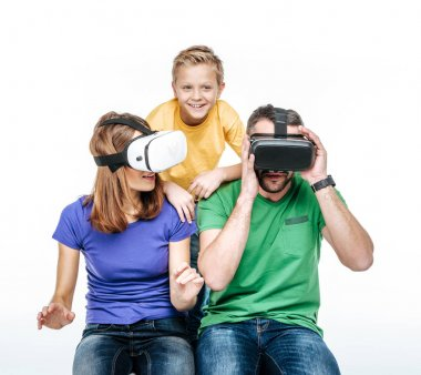 Parents using virtual reality headsets