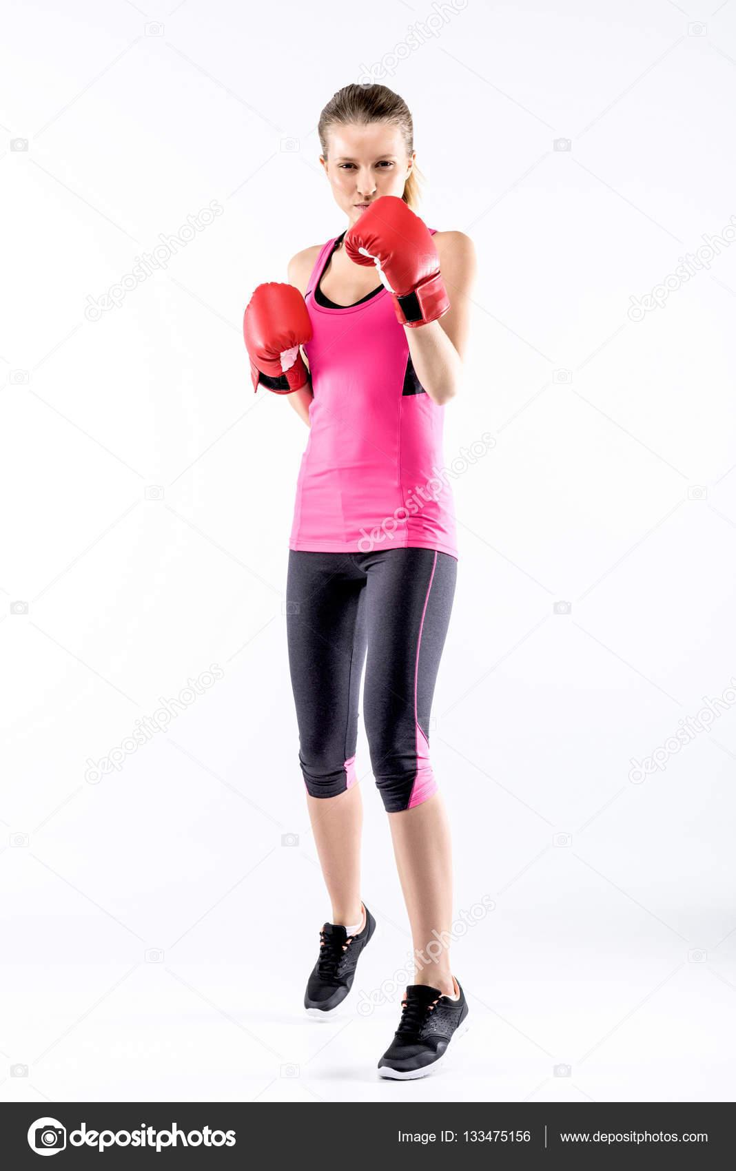 femme en gants de boxe photographie andrewlobov 133475156. Black Bedroom Furniture Sets. Home Design Ideas