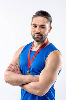 Man with gold medal award