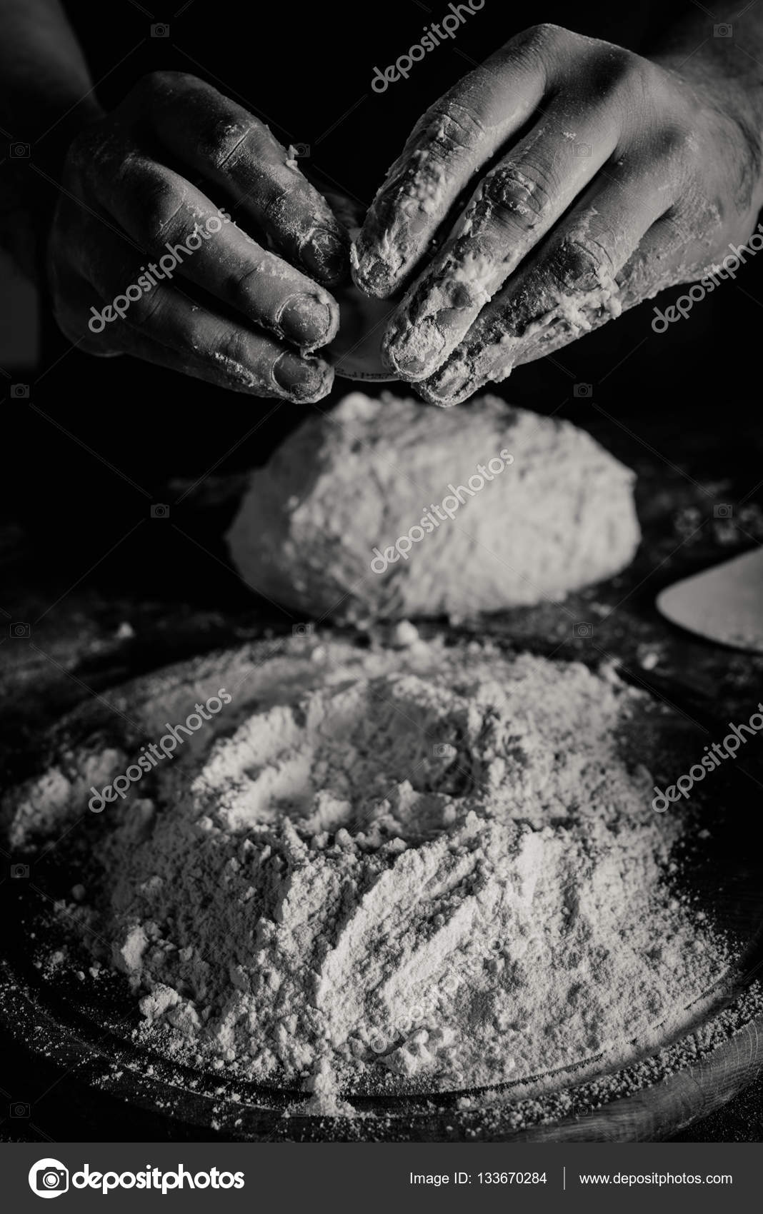 Baker kneading dough — Stock Photo © AndrewLobov #133670284