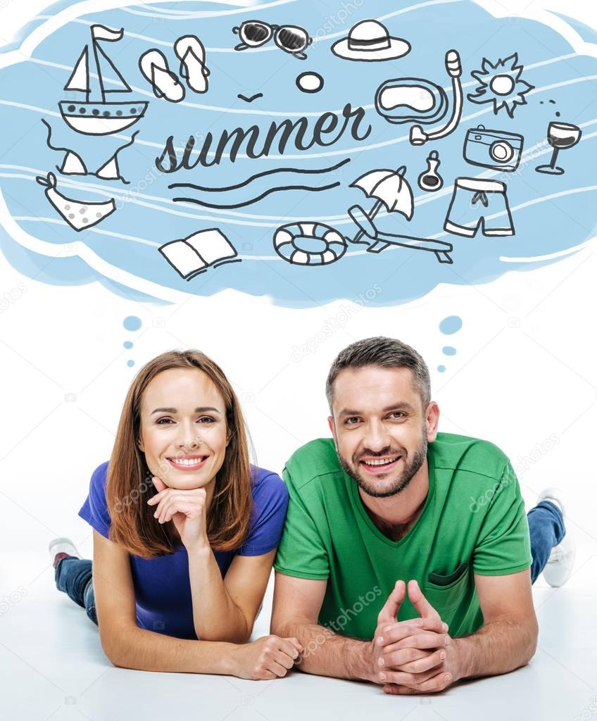 couple thinking about summer vacation