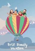 Fotografie family flying on air balloon