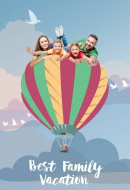 family flying on air balloon